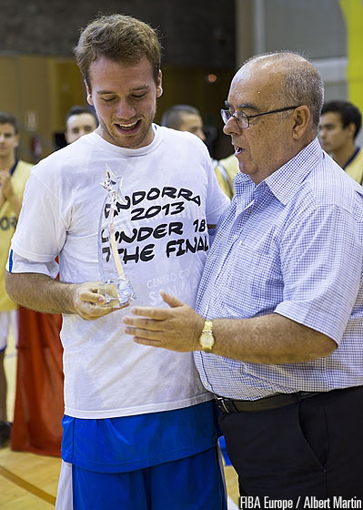 Julian Gualtieri of San Marino being presented the MVP award by FIBA Europe Vice President John Goncalves